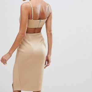 NWT ASOS Corset Detail Cut Out Midi Bodycon Dress